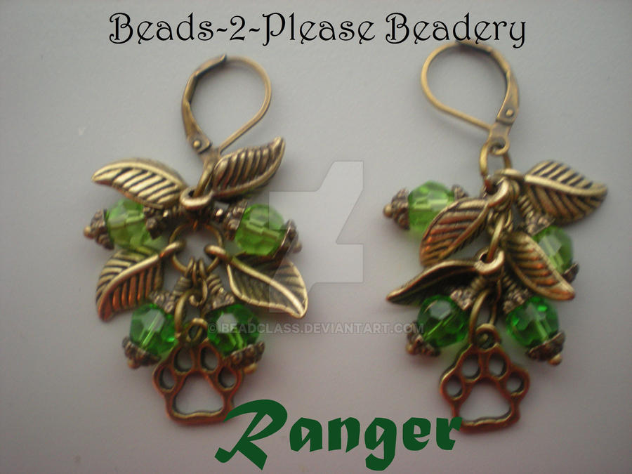 Ranger Guild Wars 2 Inspired Earrings by beadclass