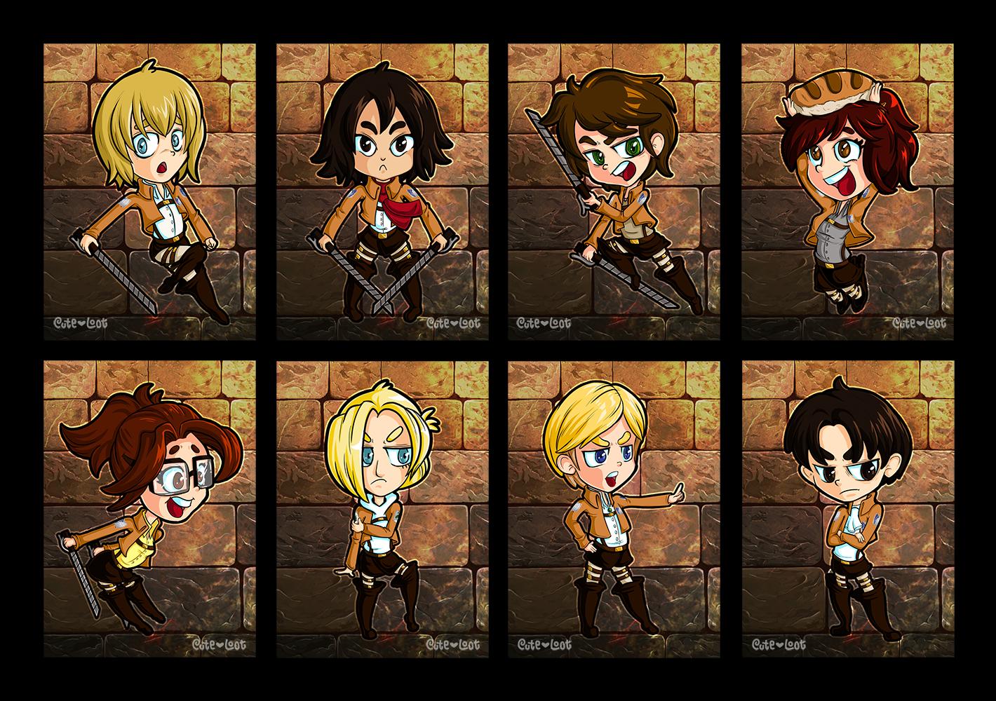 Attack On Titan Chibi Mini Prints By Cute Loot On Deviantart