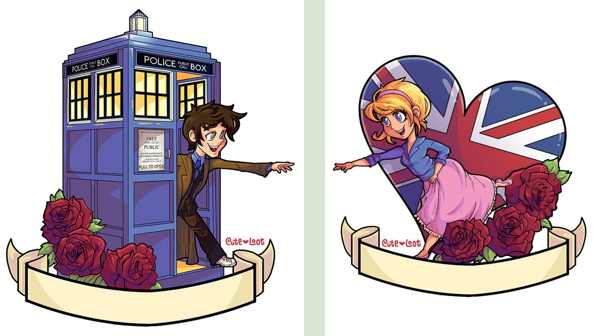 Tattoo Commission - Doctor Who 10 and Rose by cute-loot