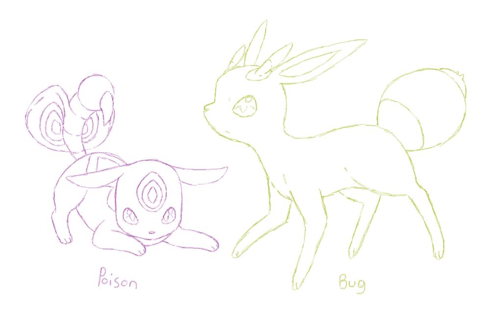 Eeveelution sketches by GlitchyBunny