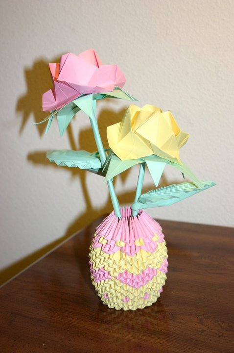 3d Origami Pink Yellow Roses With Heart Basket By