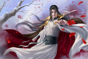 Red Blossom Flying  in White Snow