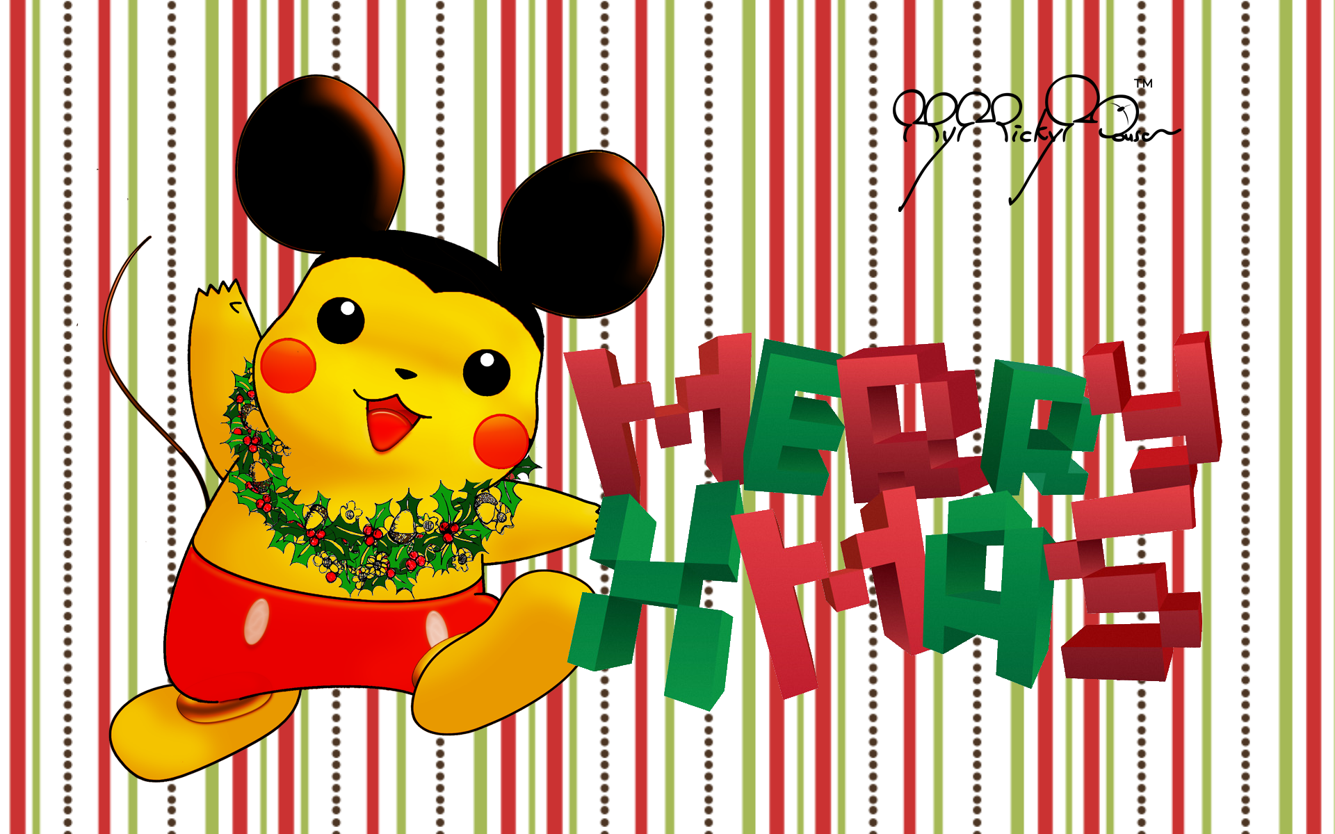 Beautiful Wallpaper Christmas Mickey Mouse - merry_christmas_wallpaper_pikachu__mickey_1920_px_by_mymickymouse-d4jogi6  Perfect Image Reference_539779 .png