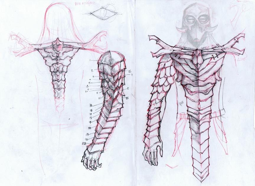 Skyrim Dragon Priest armor sketch by vrin-thomas
