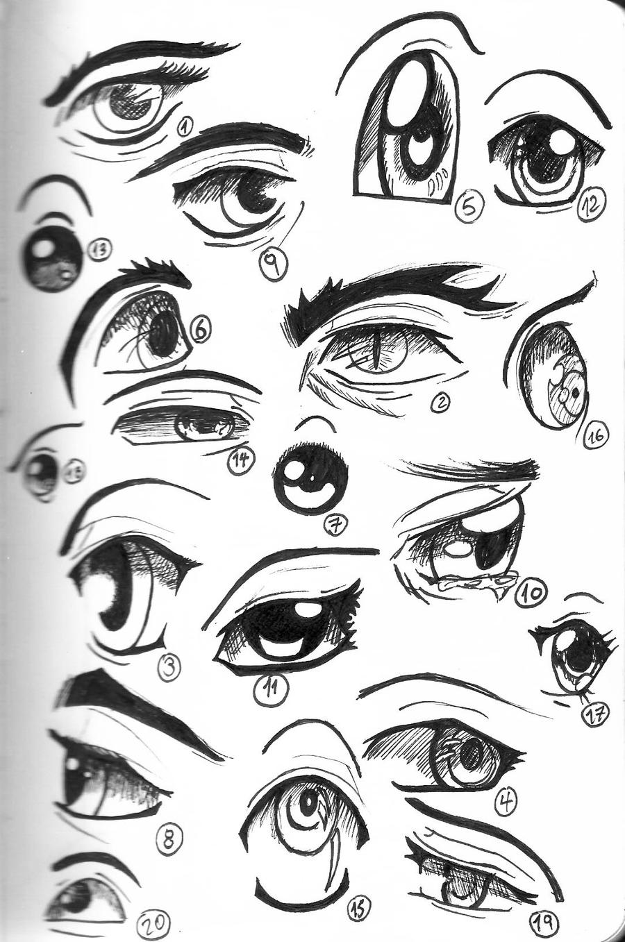 how to draw anime eyes female crying