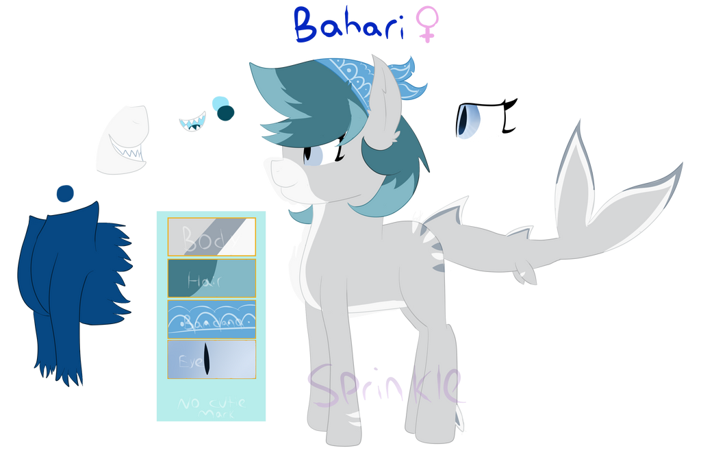 (OC) Bahari - Shark Pony [Reference Sheet] by SprinkleDashYT