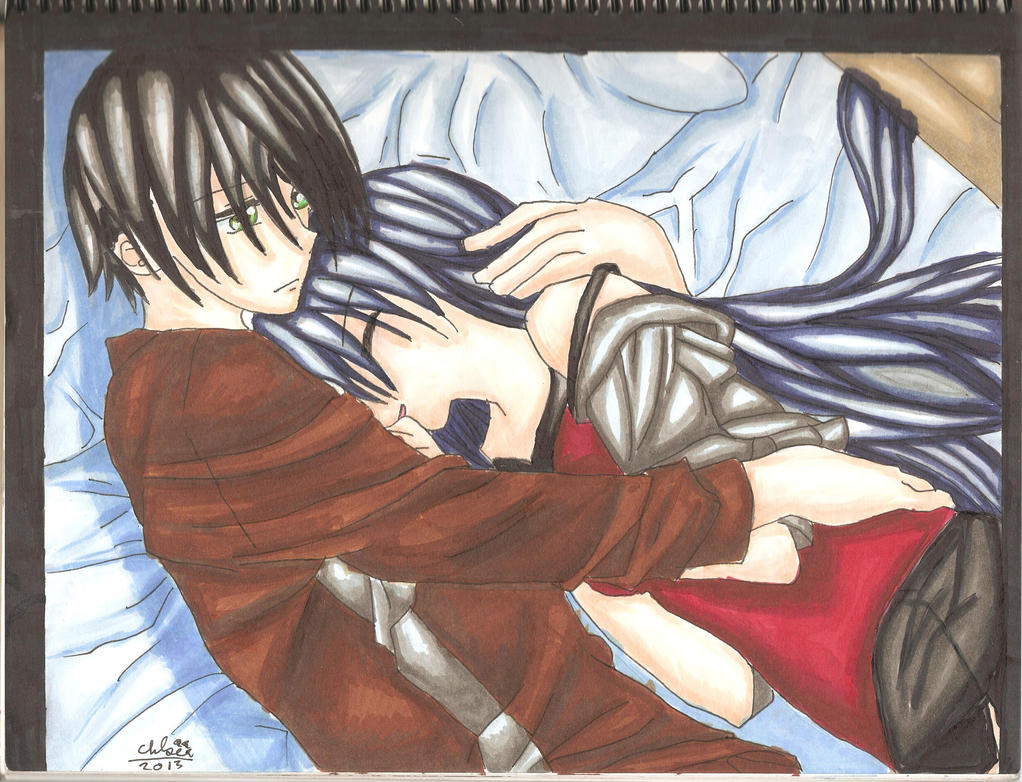 anime couple snuggling: Anime Couple Cuddling In Bed By Borderliningsanity On