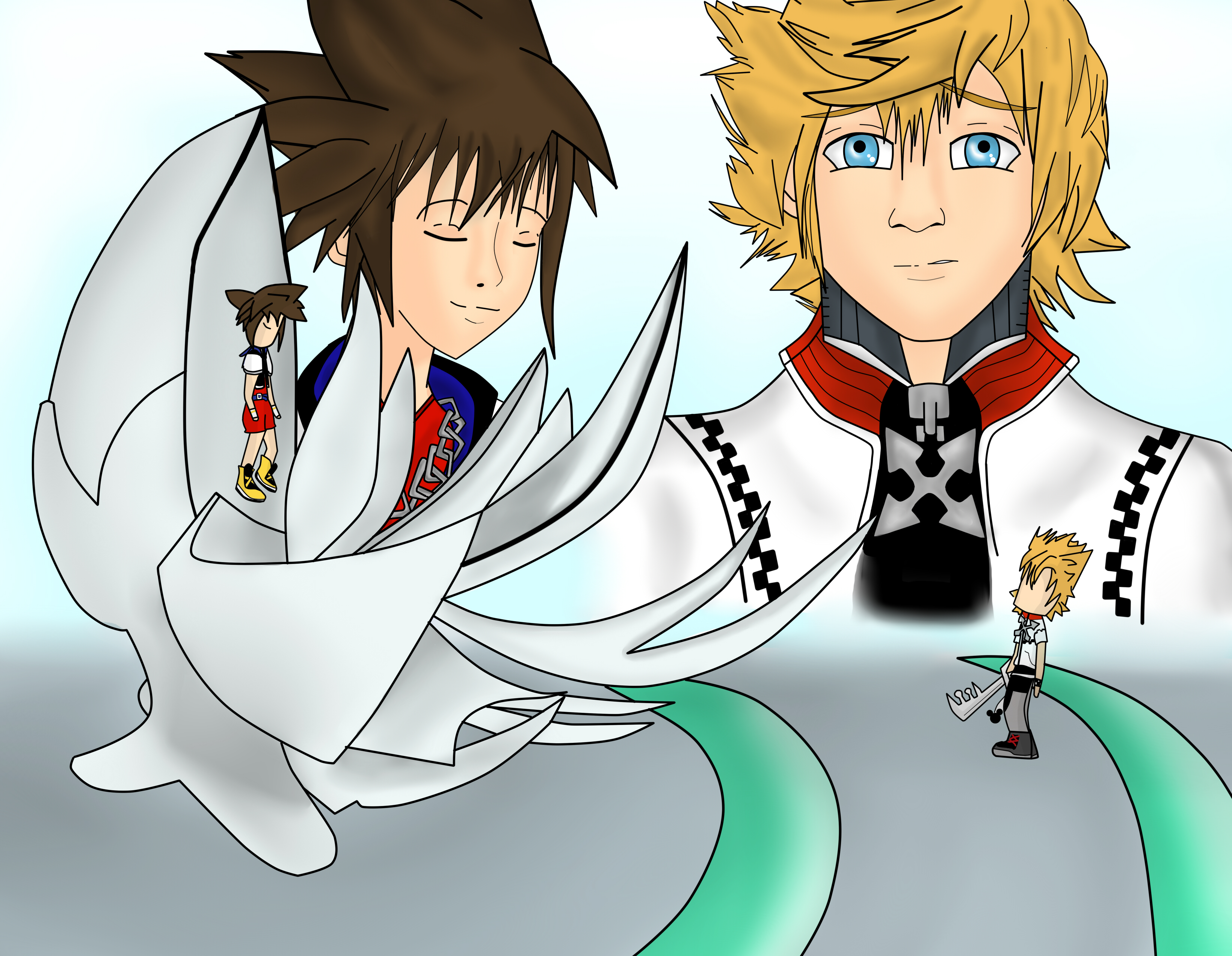 Sora Kingdom Hearts Lineart : Kingdom hearts roxas meets sora by thuthukachoo on deviantart