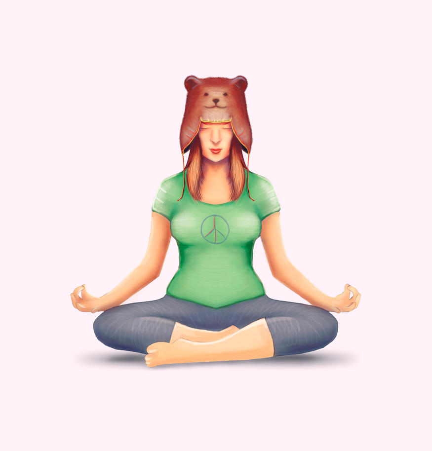Yoga Girl With A Bear Hat by Oganso