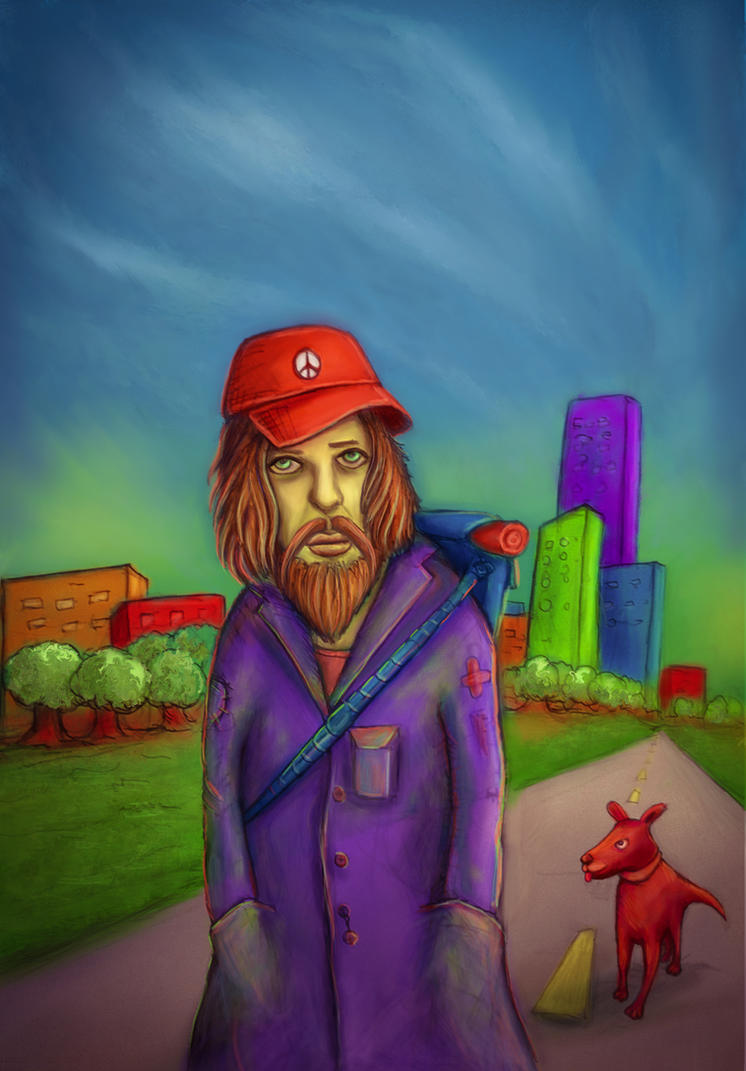 Sad Bearded Bum On The Road by Oganso