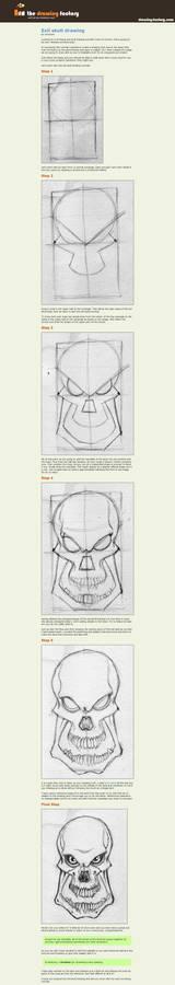 Evil skull drawing
