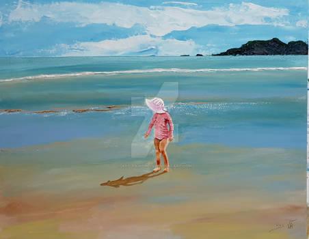 Mermaid rises to the shore in velvet pink