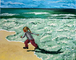 The frothy bubbles chase the little girl - Acrylic