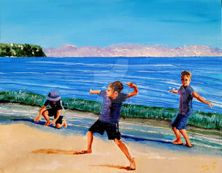 Children have their play on the seashore of worlds