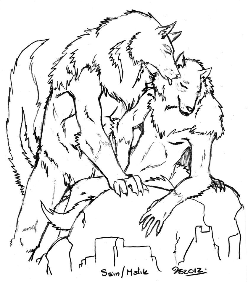 sketch of werewolves coloring pages