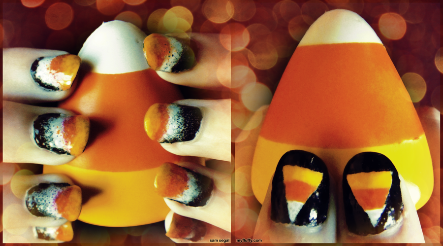 Candy Corn Nails 2012 by wondering-souls