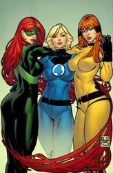 3 Marvel Girls coloured by spidermanfan2099