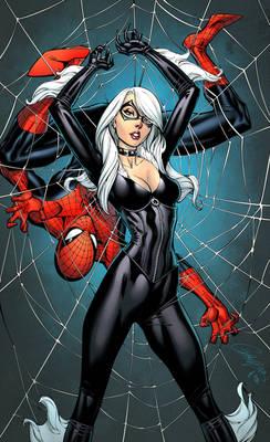 Spider-Man and Black Cat coloured
