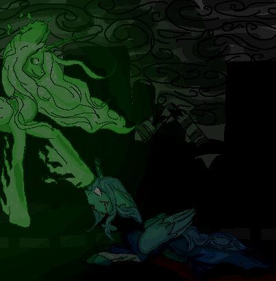 green and blue gods of the moon by Elf-from-a-lake