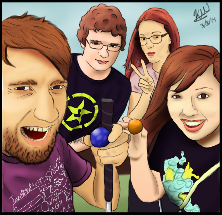 Gavin, Michael, Meg, and Lindsay Golfing! by Titanairbenderpony