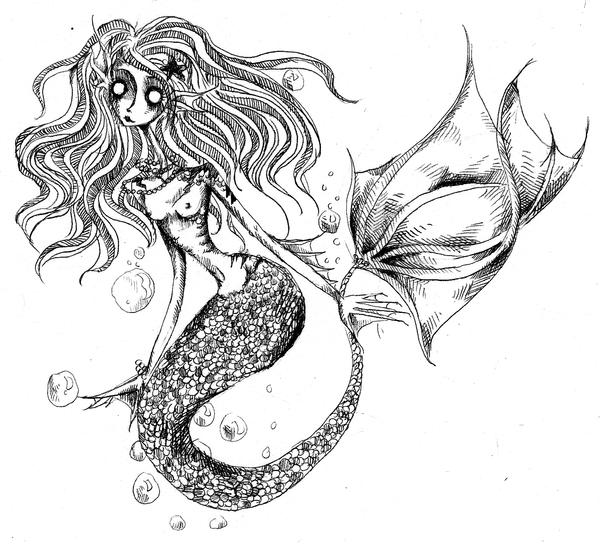 Mermaid Lineart by KennedyxxJames