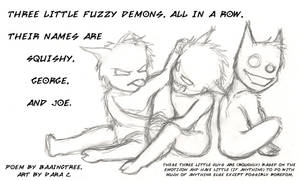 Three Little Fuzzy Demons by bakubreath