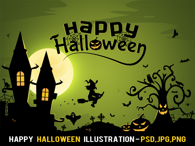 Free Happy Halloween Illustration by nelutuinfo
