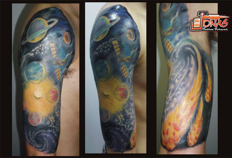 Freehand Space Tattoo by MarcoGates