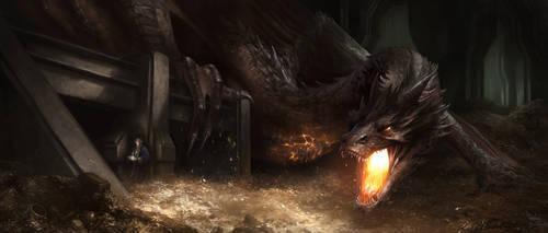 Bilbo stealing the Arkenstone