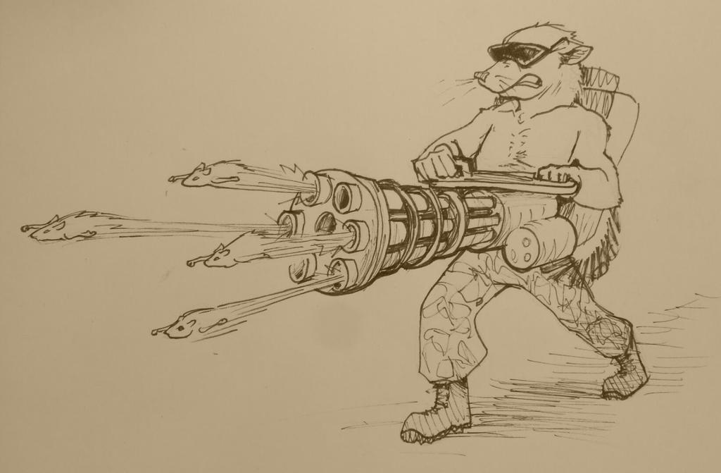 #drawlloween Rat with Ratling Gun by brock-art