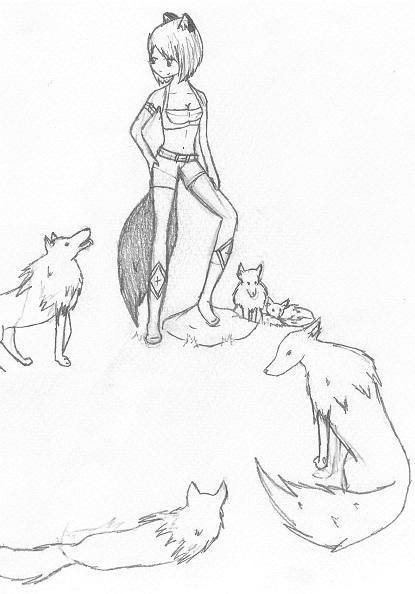 Anime Girl With Wolves By Fyrrewolf On Deviantart