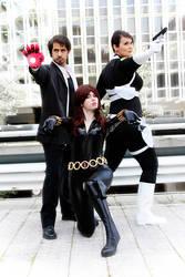 Black Widow, Tony Stark and Maria Hill by laNane