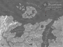 Bizantium and its Colonies Map (Greyscale) by Will-Erwin