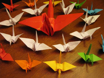Paper Cranes for Japan by dragon-sigma
