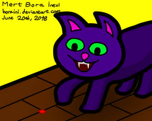 Purple Cat Playing with Laser Beam