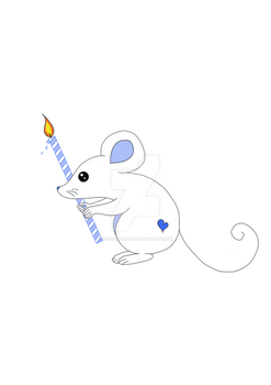 Cute  mouse with birthday candle