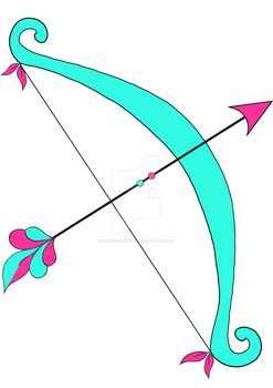 teal and pink bow and arrow