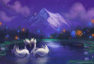 Moonlit Lake by Haychel