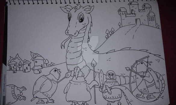 The Quail Knights fight the Licky Dragon