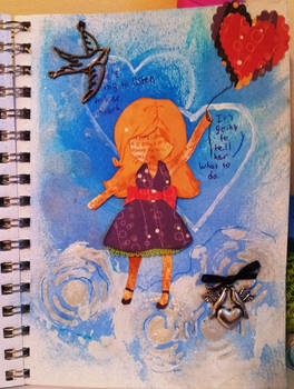 Mixed Media She's Going To Listen To Her Heart
