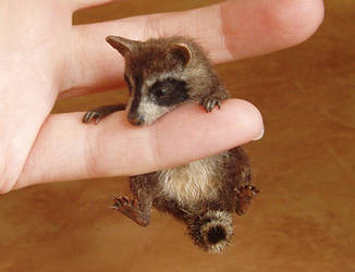 Raccoon MINIATURE SCULPTURE by pixiwillow