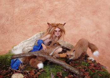 The Little Foxes - SCULPTURE by pixiwillow