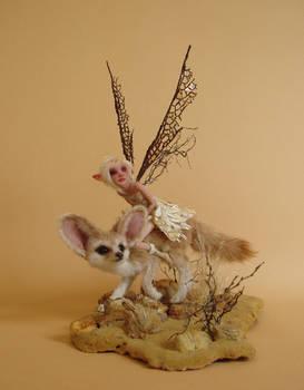 Desert Fox and Fairy Sculpture