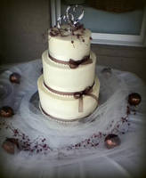 Buttercream and Silk Ribbon Wedding Cake by ohnoono