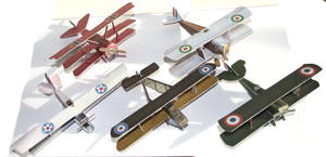 Four biplanes and a triplane