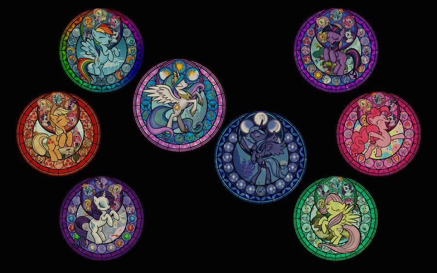 MLP:FiM Stained Glass Wallpaper -no text- by craigerzF