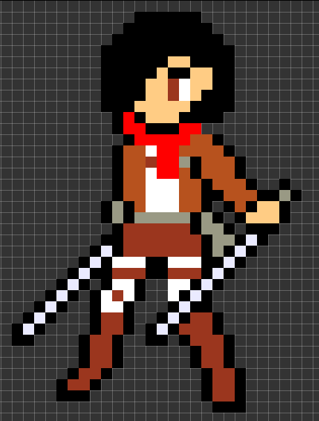 Pixel Art of Mikasa from Attack On Titan by ...