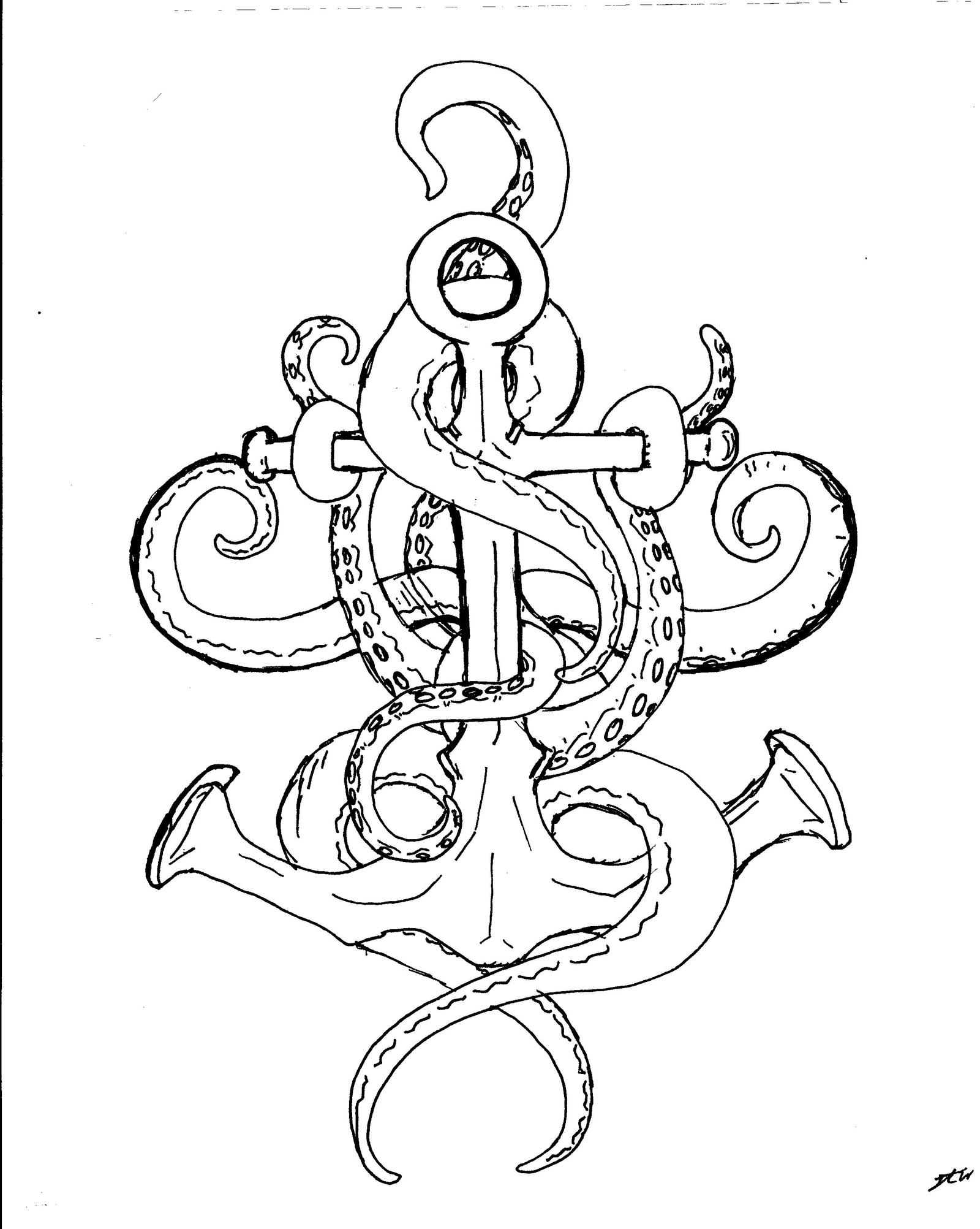 Anchor Line Drawings Tattoo Drawings Compass Anchor