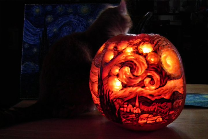 Starry Pumpkin Night by sockypoo