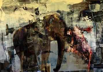 elephant and girl by kanadam
